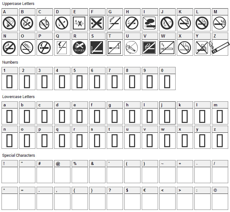 No Smoking Font Character Map