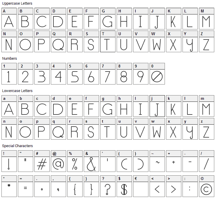 No Type Font Character Map