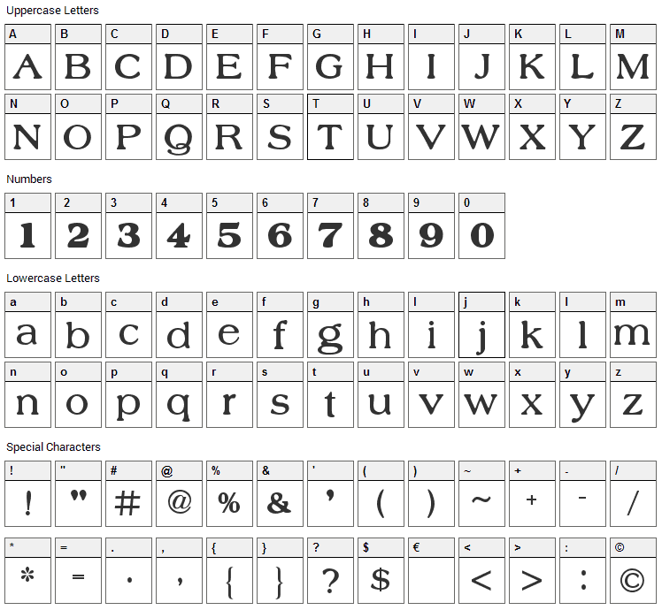 Nobility Casual Font Character Map