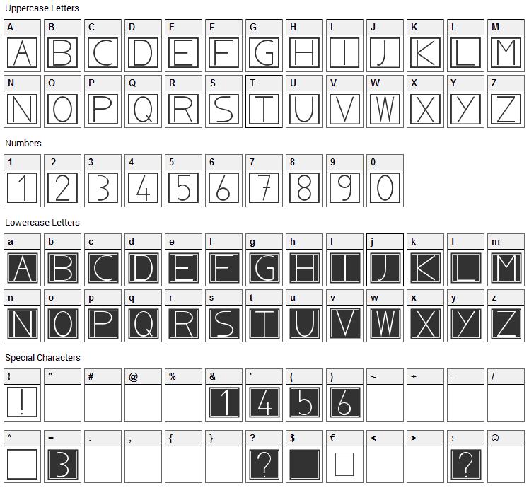 NoblaCS Font Character Map