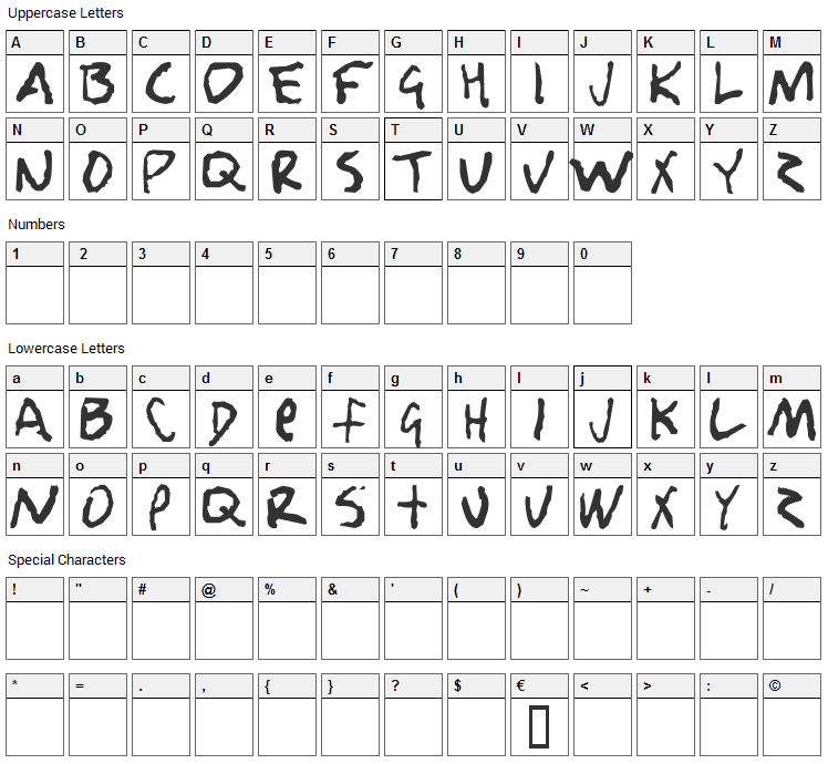 Nobody loves me Font Character Map