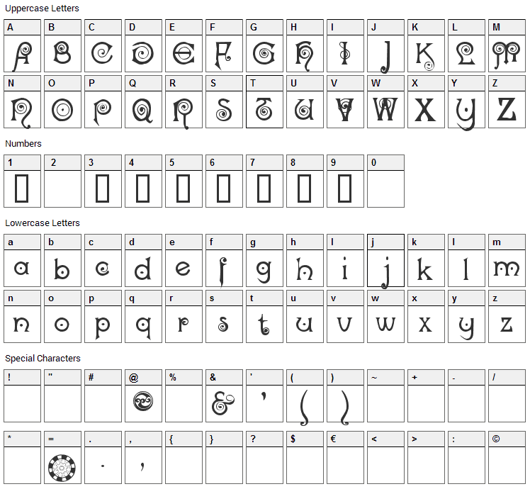 Nocker Font Character Map