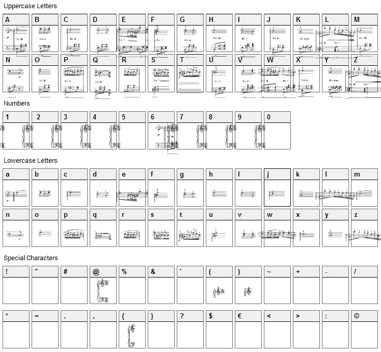 Nocturnal Experience Font Character Map