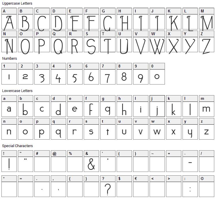 Noir-et-Blanc Font Character Map