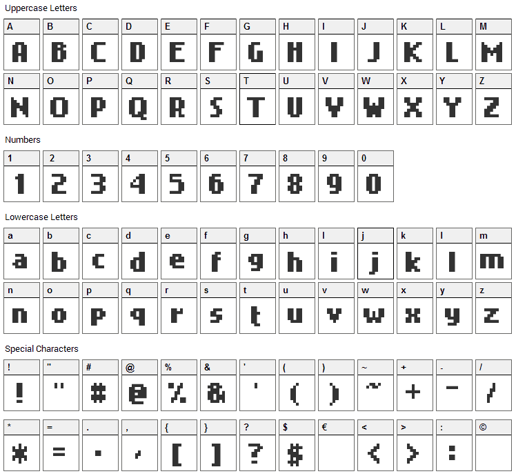Nokia Cellphone FC Font Character Map