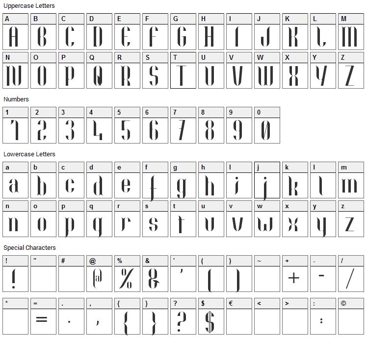 Nolla Font Character Map