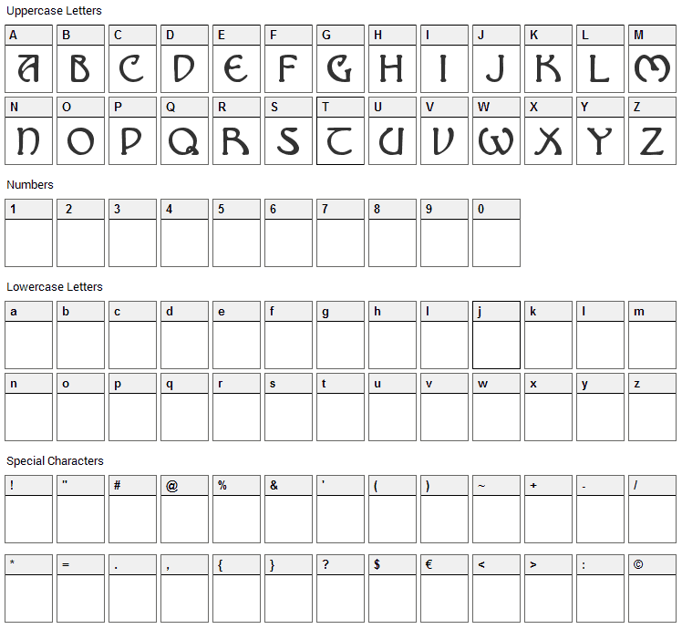 Nomarch Font Character Map