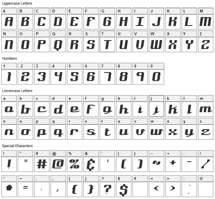 Nominal Font Character Map