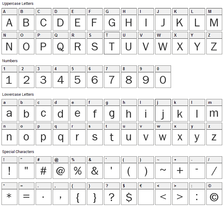 Non Serif Font Character Map