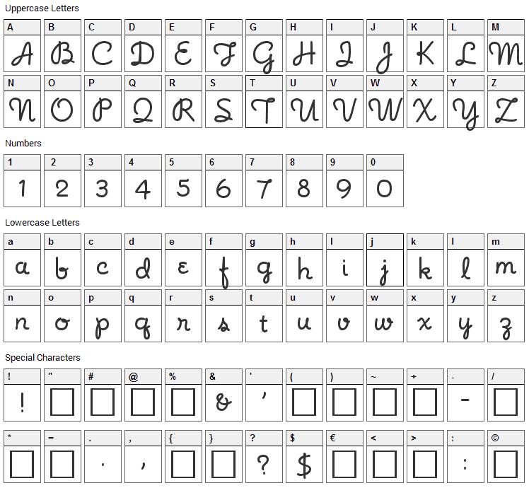 Noodle Script Font Character Map