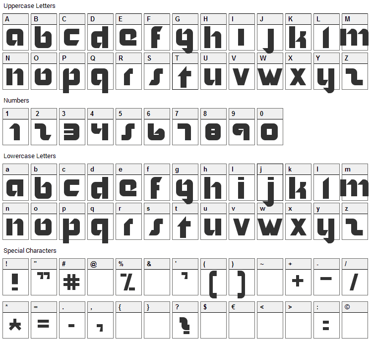Nordic Font Character Map