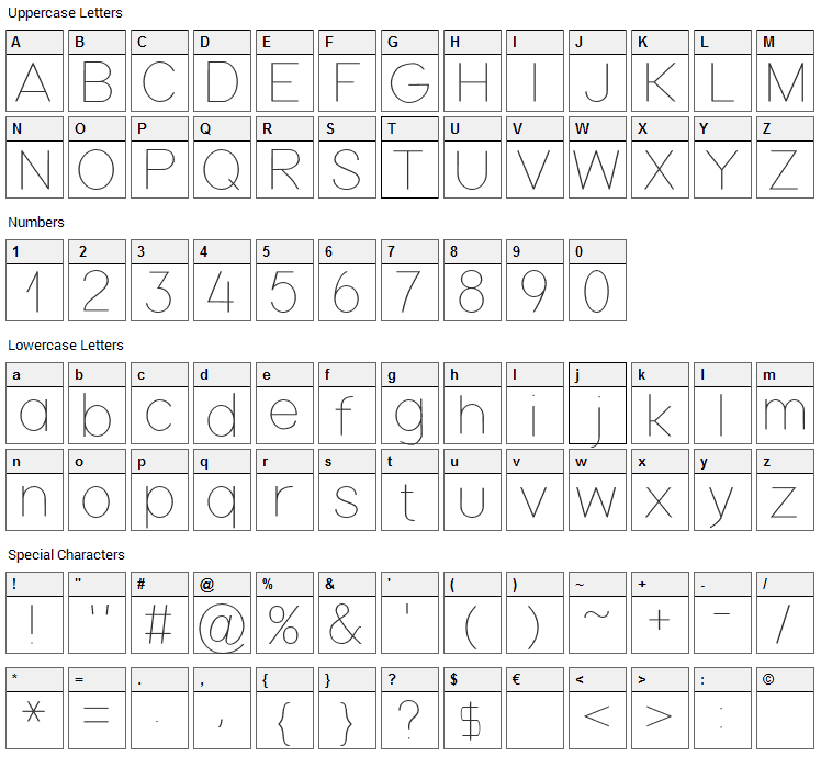 Nordica Font Character Map