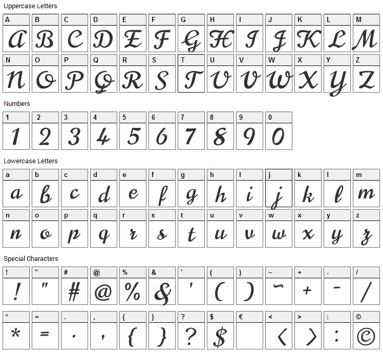 Norican Font Character Map