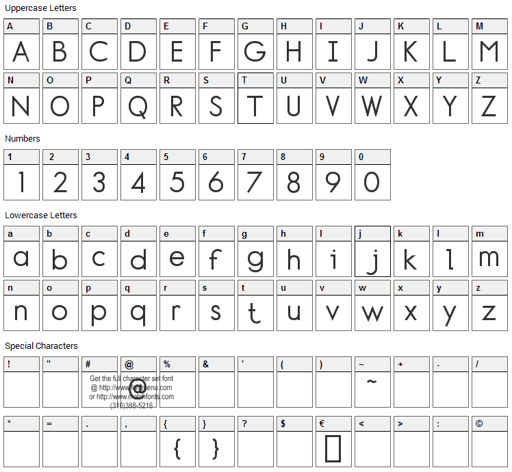 Normafixed Font Character Map
