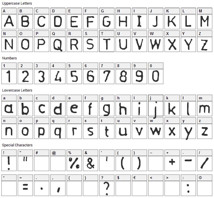 Normograf Font Character Map