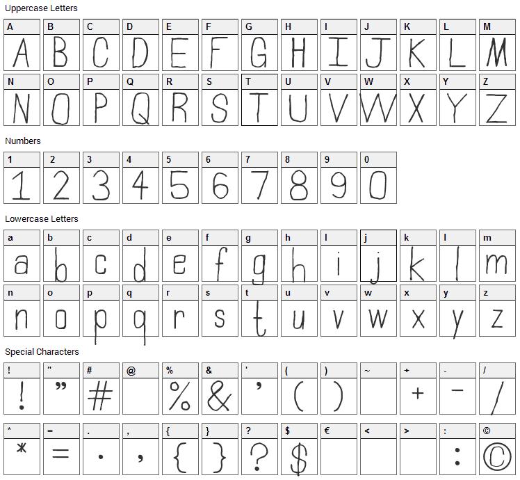 Northampton Font Character Map