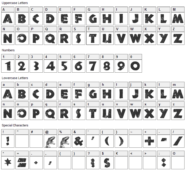Northern Territories Font Character Map