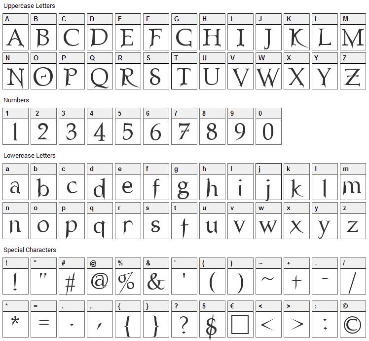 Nosferatu Font Character Map