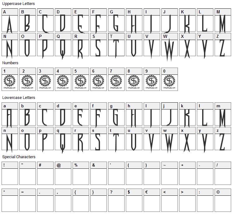 Nosferotica Font Character Map