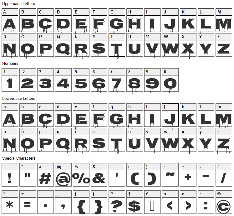 Nosifer Font Character Map