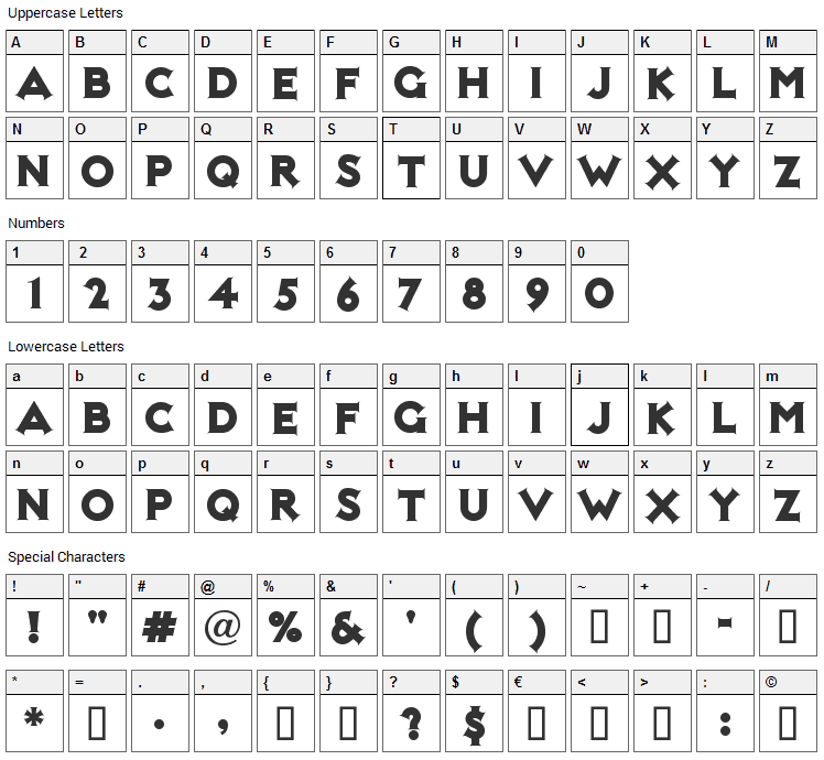 Not Mary Kate Font Character Map