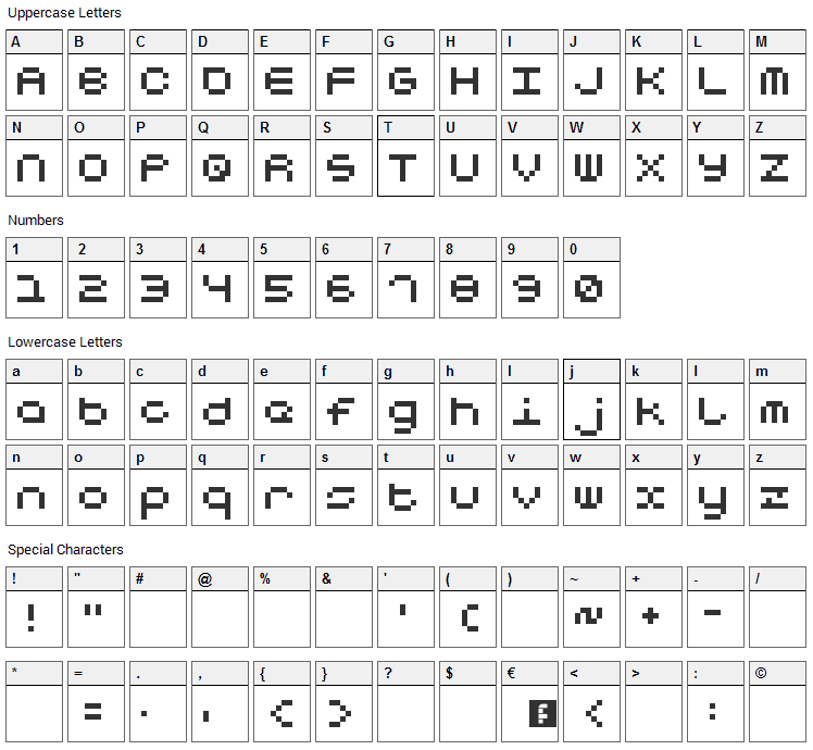 Notalot25 Font Character Map