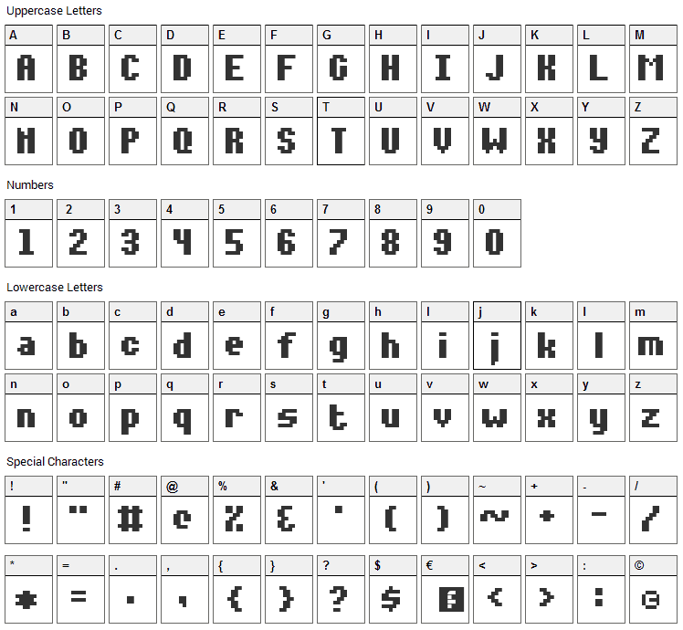 Notalot35 Font Character Map