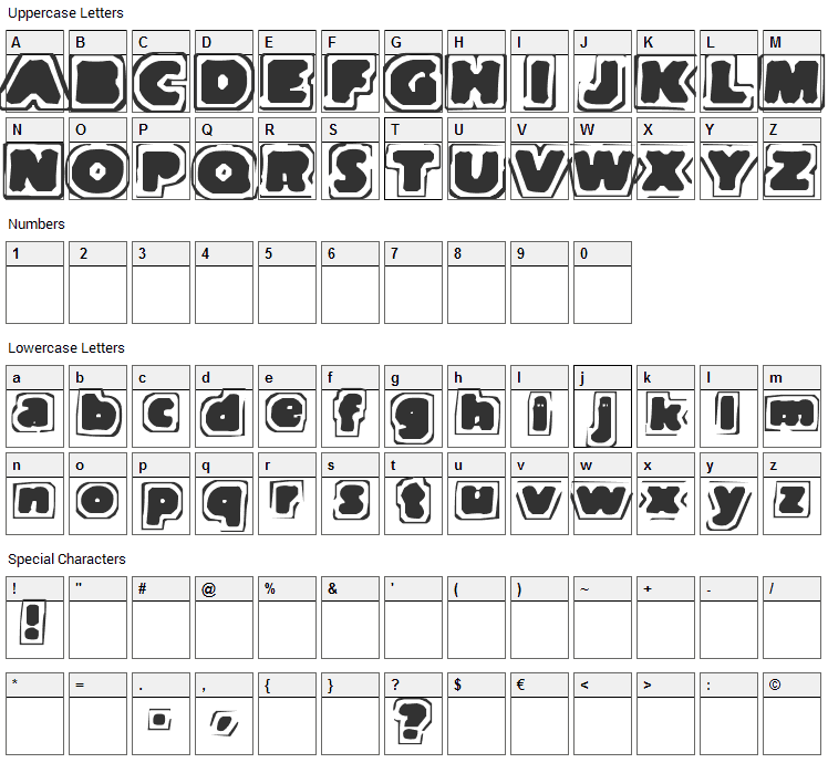 Note of Terror Font Character Map