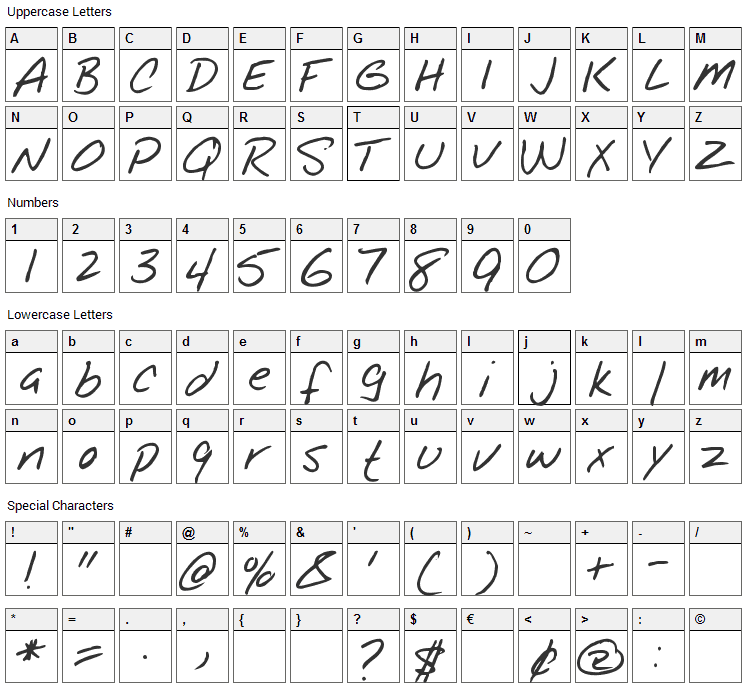 Notepad Font Character Map