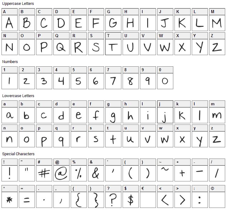 Nothing You Could Say Font Character Map