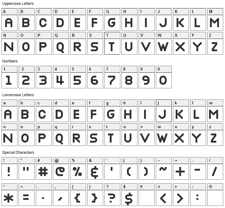 Nottke Font Character Map