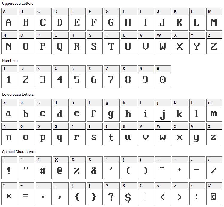 Nouveau IBM Font Character Map