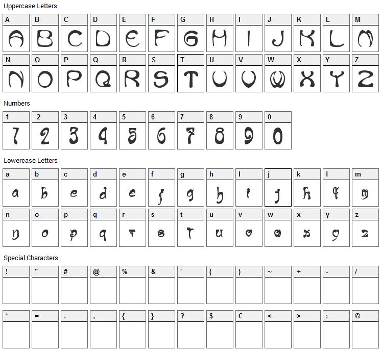 Nouveau Riche Font Character Map