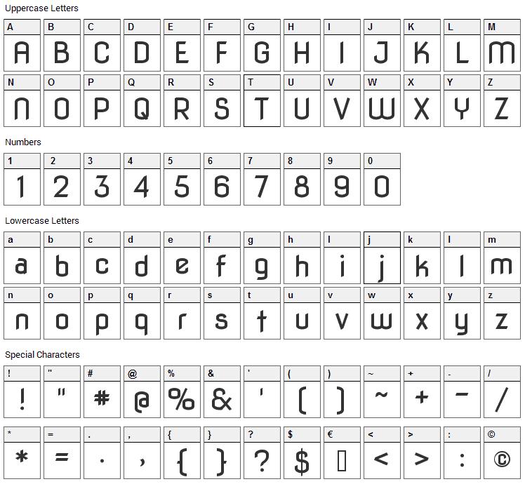 Nova Flat Font Character Map