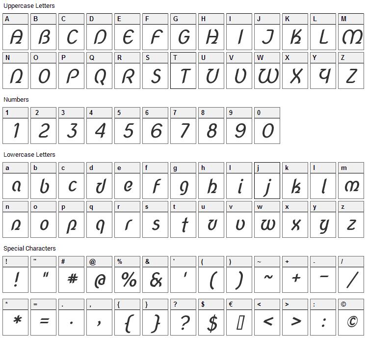 Nova Script Font Character Map