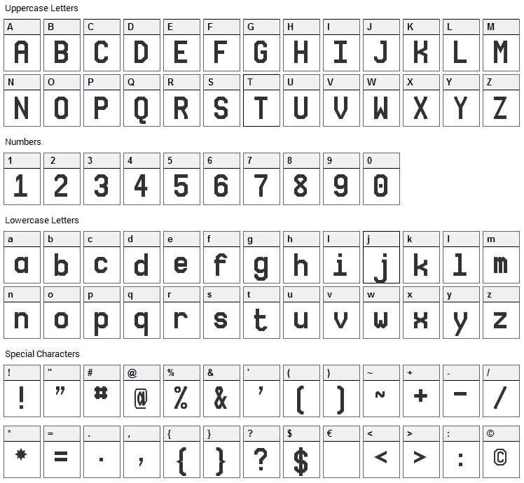 NovaMono Font Character Map