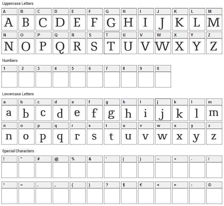 Novello Pro Font Character Map