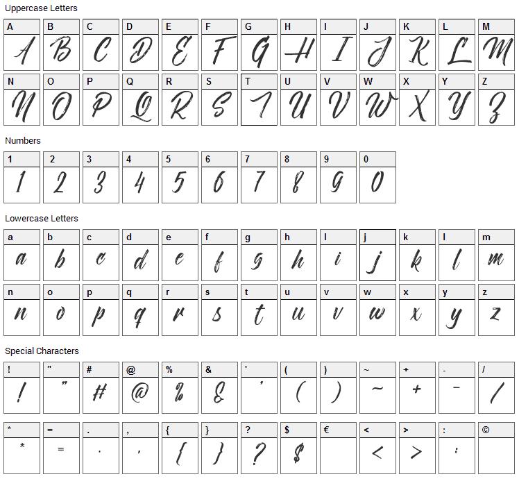 Novitha Script Font Character Map
