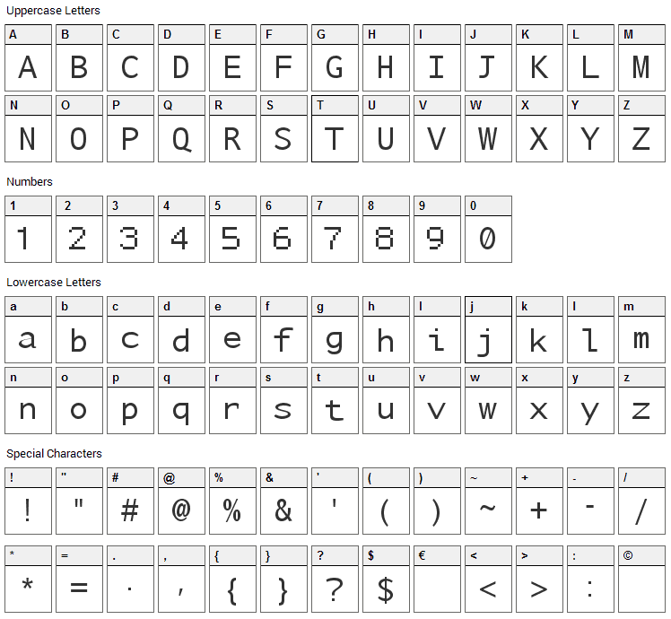 Nu Sans Mono Font Character Map