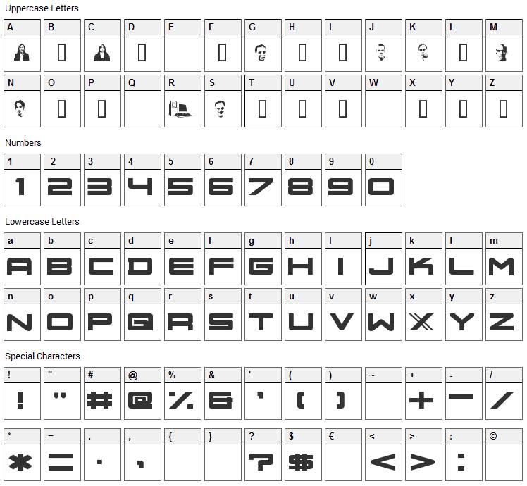 Nu School Militia Font Character Map