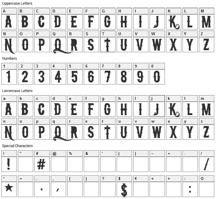 NuCreactivo 2008 Font Character Map