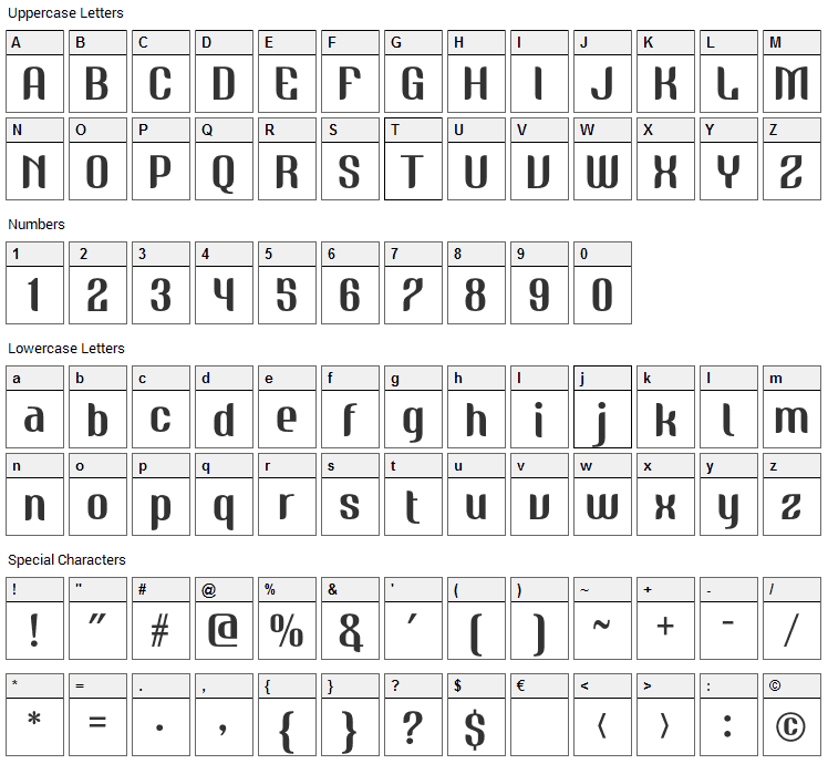 Nudely One Font Character Map