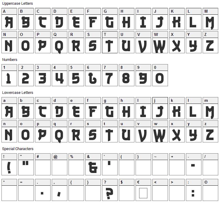 Nuku Nuku Font Character Map