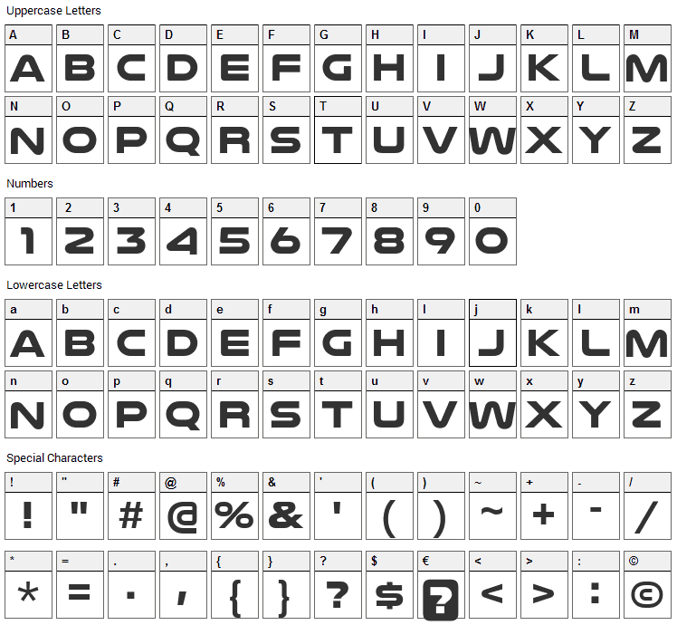 Nulshock Font Character Map