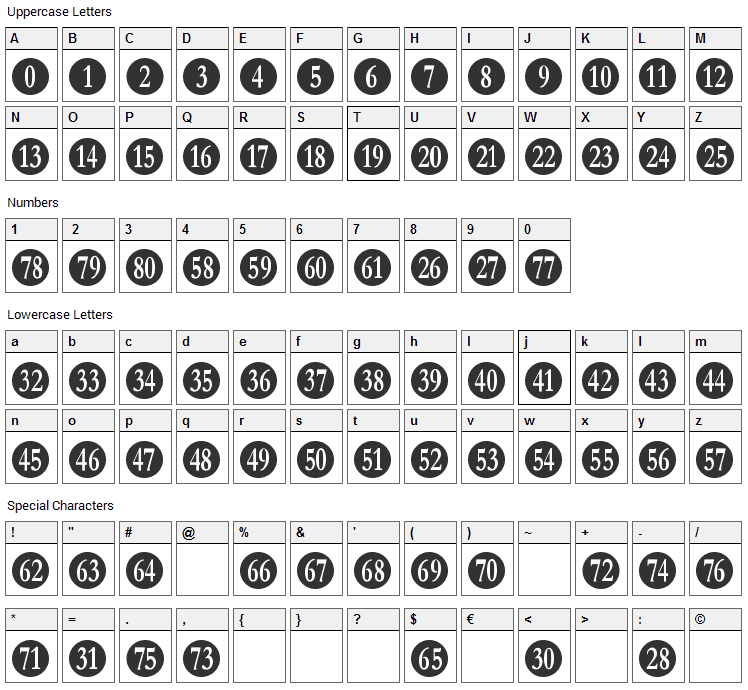 Numberpile Font Character Map