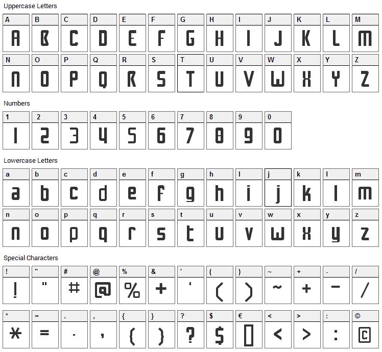 NuWave BV 2.0 Font Character Map