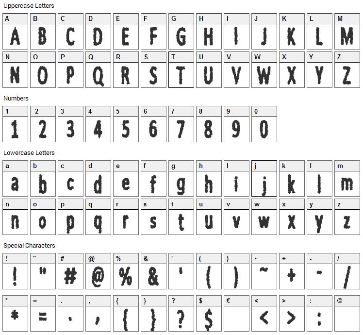 nWorder Font Character Map