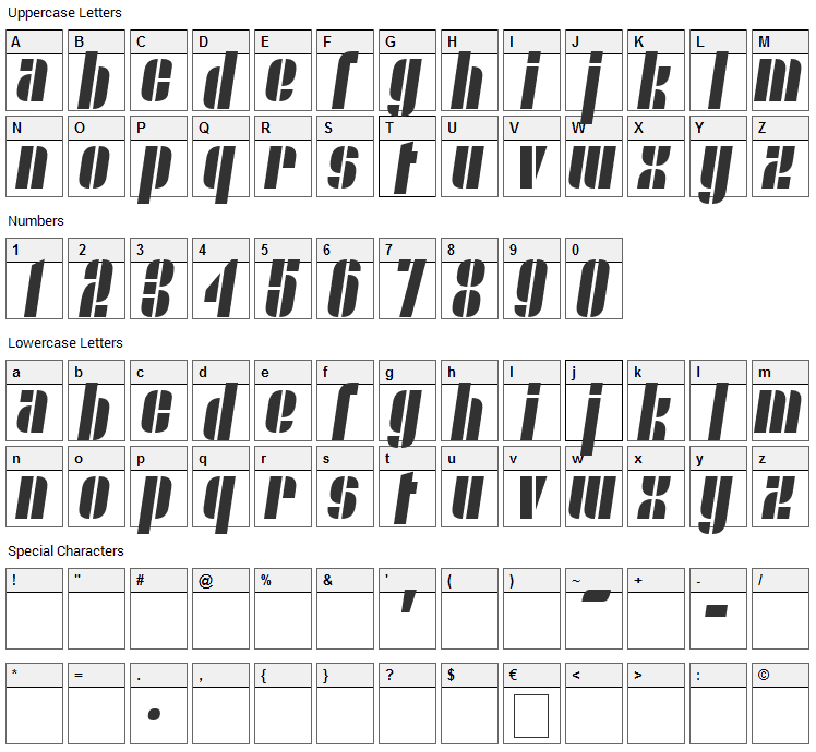 Nyamomobile Font Character Map