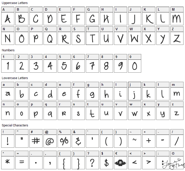 Nymphs Handwriting Font Character Map