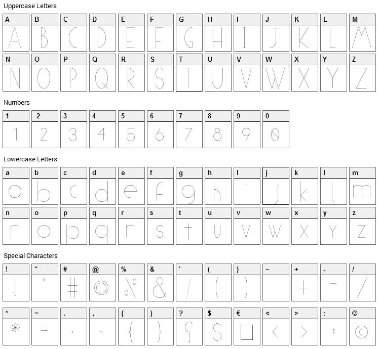 (((O))) Basic Font Character Map
